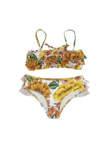 Zimmermann Zimmermann  Çiçekli Fırfırlı Kız Çocuk Bikini Takımı 101600352 Renkli